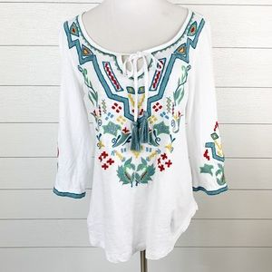 Soft Surroundings Floral Embroidered Tunic Top XS